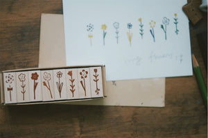Evakaku Daily Flowers (Set of 8) Rubber Stamps