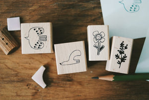 Evakaku Bird & Flower (Set of 4) Rubber Stamps