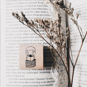 No. 4 Mini Girls Rubber Stamp: Book Lover