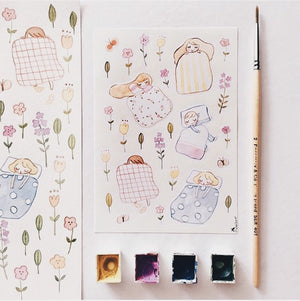 Msbulat Bed of Flowers Sticker Sheet