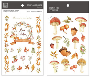 MU Print-On Stickers-031 Mushroom In Autumn Forest