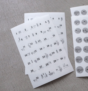 Yohaku Round Sticker Sheet- Calendar (M-039)