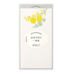 Midori Message Letter Pad Letterpress: Bouquet Yellow