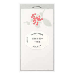 Midori Message Letter Pad Letterpress: Bouquet Red