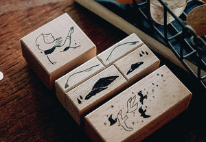 Yamadoro Mountain, Stars and Birds Rubber Stamp (Set of 6)