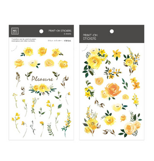 MU Print-On Stickers-106 Sunshine Yellow Flowers