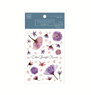 MU Crystal Rub-On Sticker 006 Pressed Amethyst Flowers