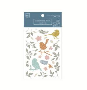 MU Crystal Rub-On Sticker 007 Feathered Friends