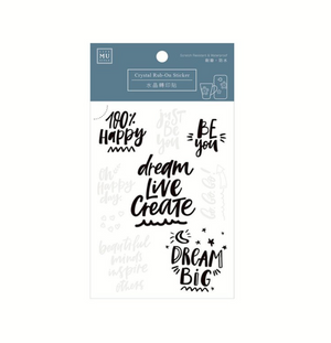 MU Crystal Rub-On Sticker 016 Dream, Live, Create