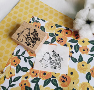 Daily Bear Rubber Stamp: Plant Lover Bear