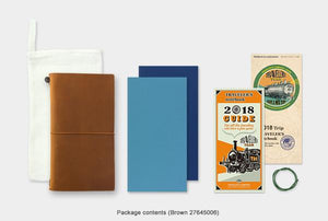 Traveler's Notebook - Regular Size - Camel Leather - 2018 Weekly Planner with Memo Pack