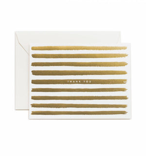 RIFLE PAPER Co. - Box set of 8 : Gold Stripes Thank You Greeting Card