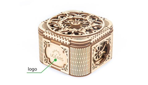UGears Wooden Mechanical Model Treasure Box Custom Brand