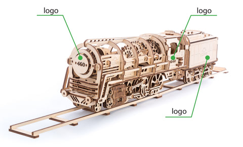 UGears Wooden Mechanical Model Steam Locomotive with Tender Custom Brand
