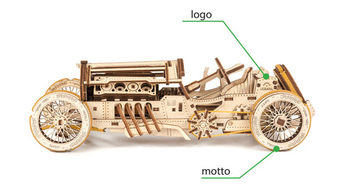 UGears Wooden Mechanical Model Kit U-9 Grand Prix Car Brand Custom