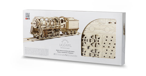 UGears Wooden Mechanical Model Kit Steam Locomotive with Tender Custom Brand Package