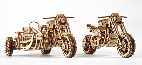 UGears Wooden Mechanical Model Scrambler Motorcycle UGR-10 with side car