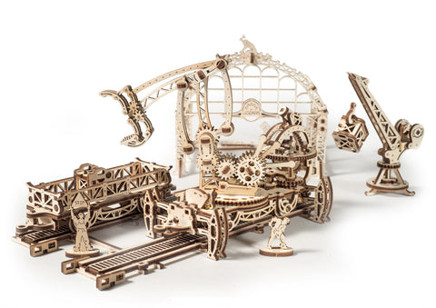 UGears Mechanical Wooden Model 3D Puzzle Kit Mechanical Town Rail Manipulator