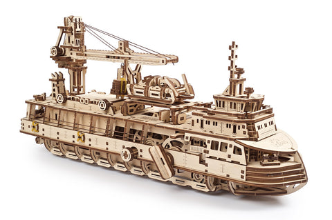 UGears Wooden Mechanical Model 3D Puzzle Kit Research Vessel