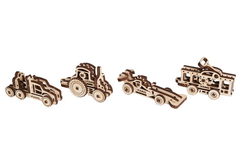 UGears Mechanical Wooden Model 3D Puzzle Kit U-Fidget Vehicles Tribiks 4 pieces Sportscar, Tractor, Truck, Tram