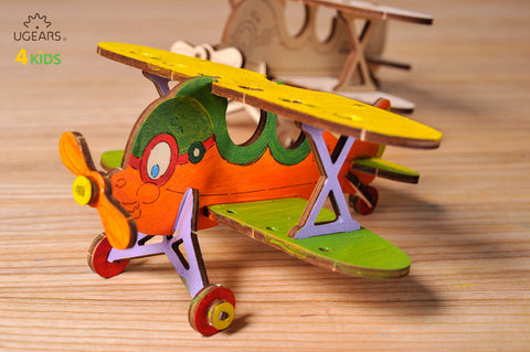 UGears 4Kids Coloring Models Set #4 - 5 large (Biplane, Clock, Donkey, Mill and Merry-Go-Round)