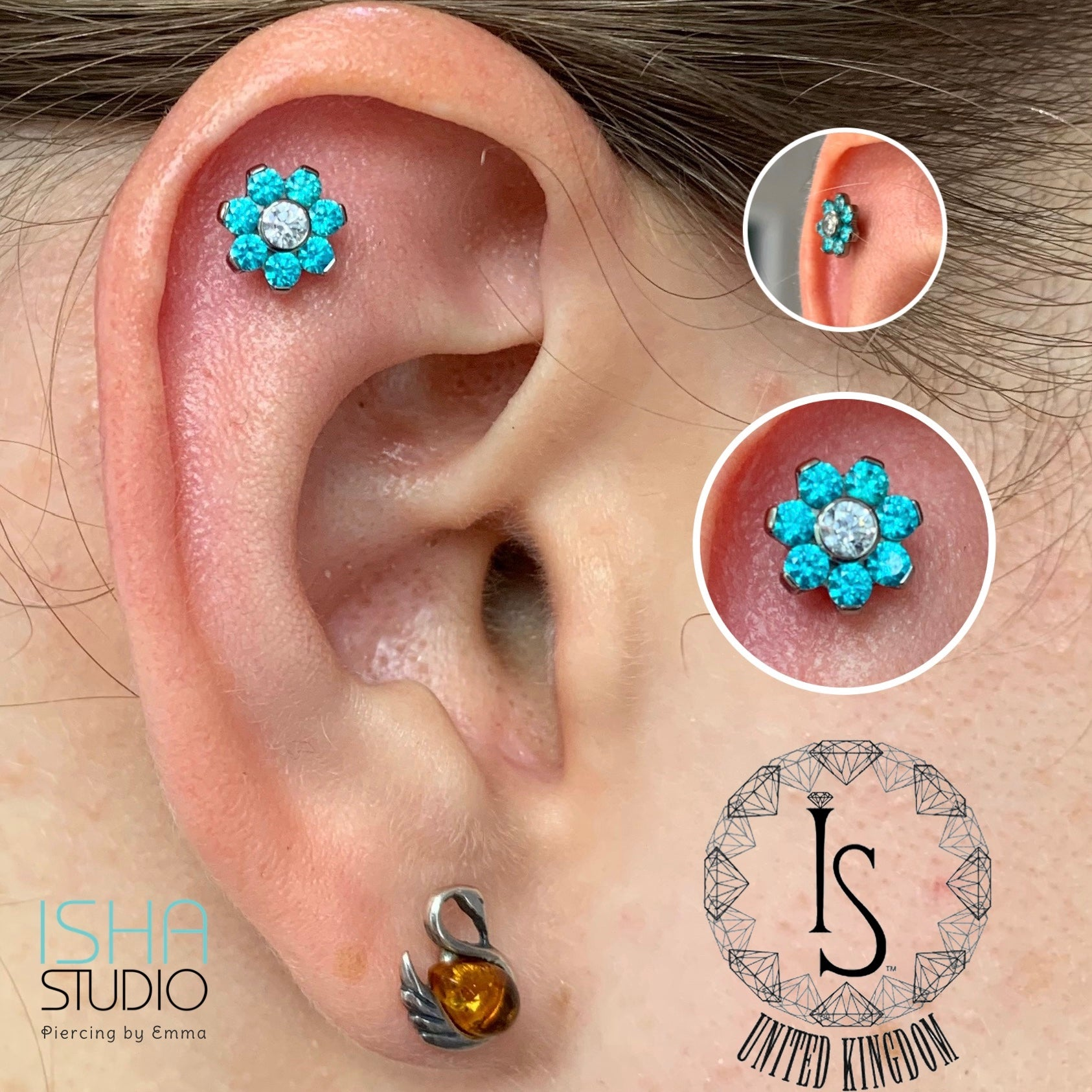 industrial strength flower gem flat helix piercing by emma at isha studio