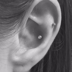 Conch and scapha piercing by Emma at Isha Body Jewellery
