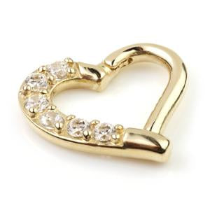 14ct Gold Gem Heart Ring - Isha Body Jewellery