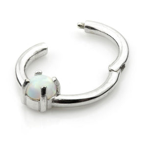 14ct White Gold Opal Dome Hinge Ring - Isha Body Jewellery
