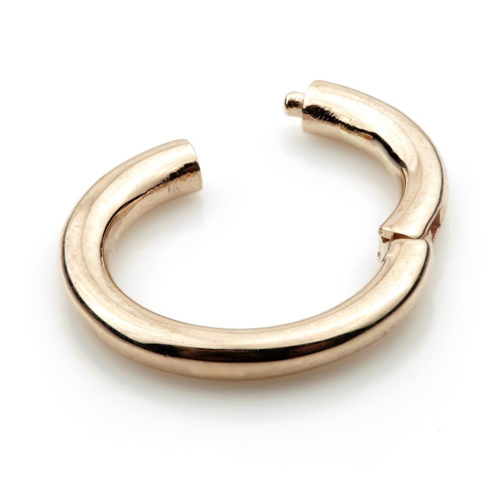 14ct Rose Gold Smooth Micro Hinge Ring - Isha Body Jewellery