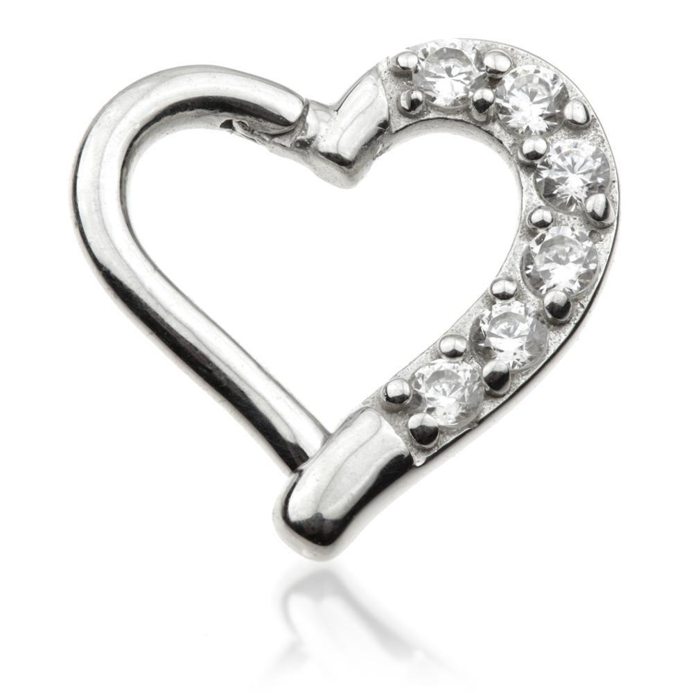 14ct White Gold Gem Heart Ring - Isha Body Jewellery
