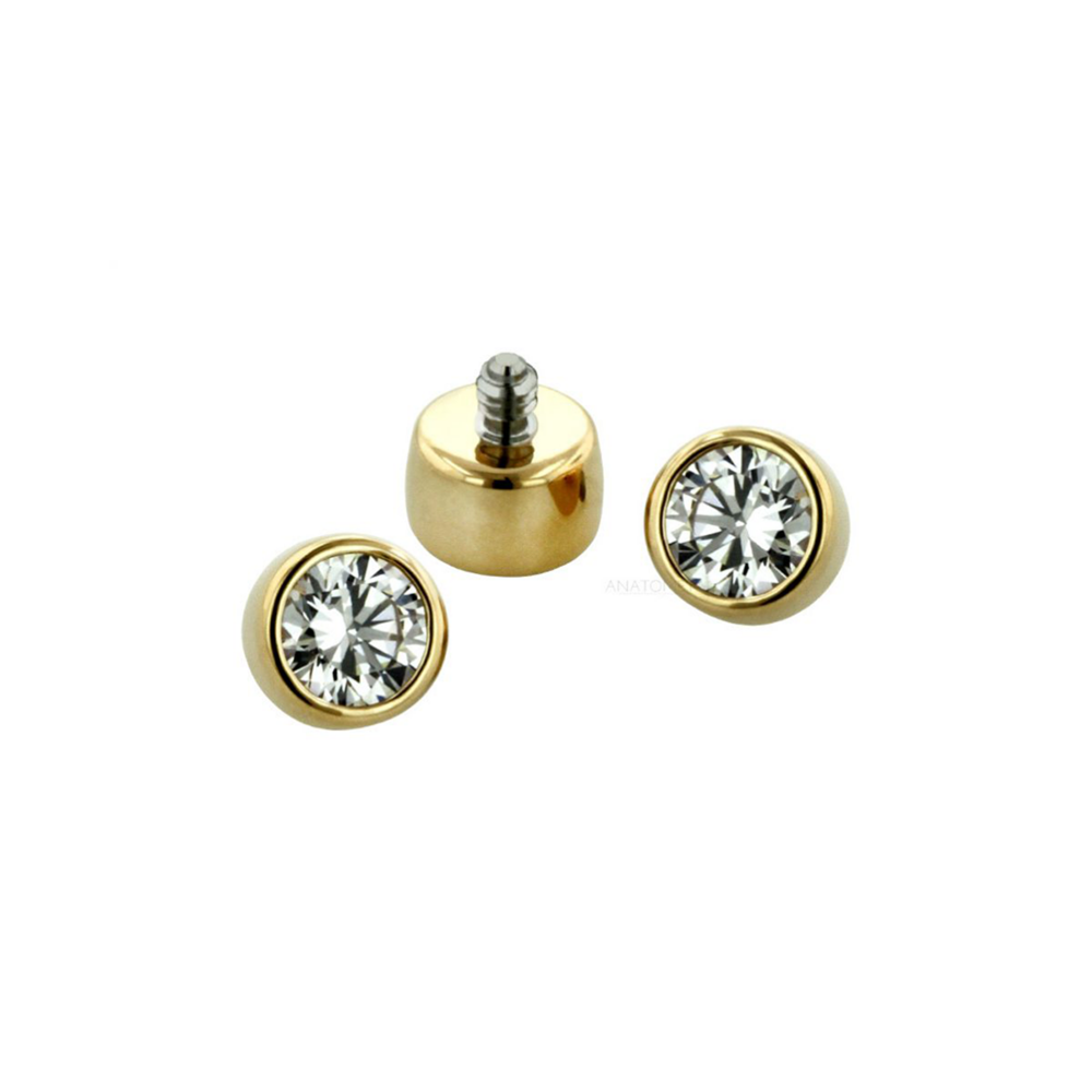 18ct Gold Bezel Set End - Isha Body Jewellery