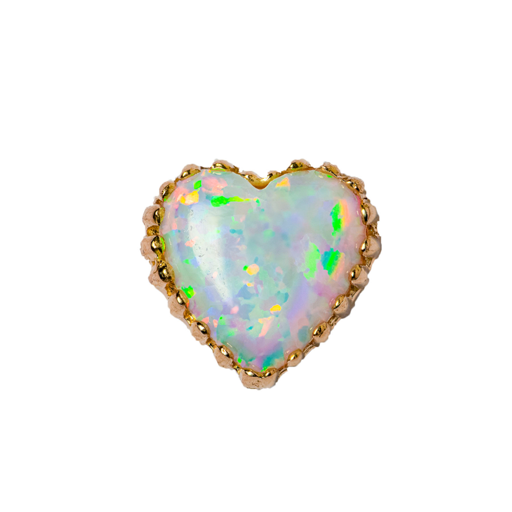 18ct Rose Gold White Opal Heart End - Isha Body Jewellery
