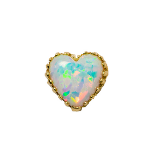 18ct Yellow Gold White Opal Heart End - Isha Body Jewellery