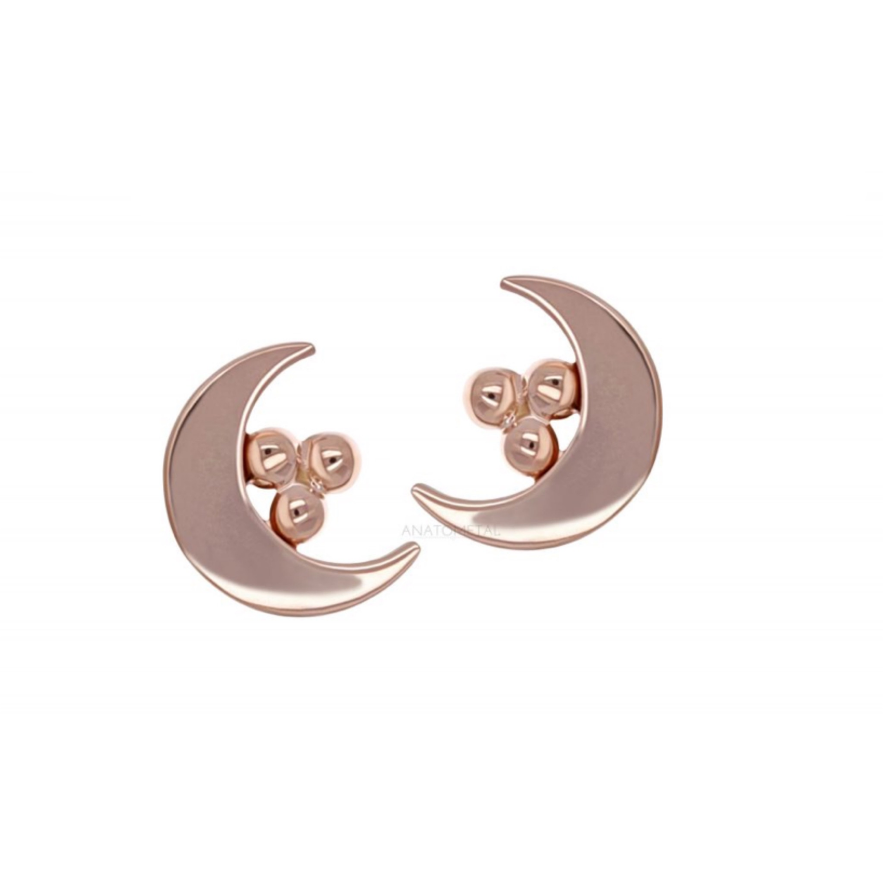 18ct Rose Gold Moon with Tri-bead End - Isha Body Jewellery