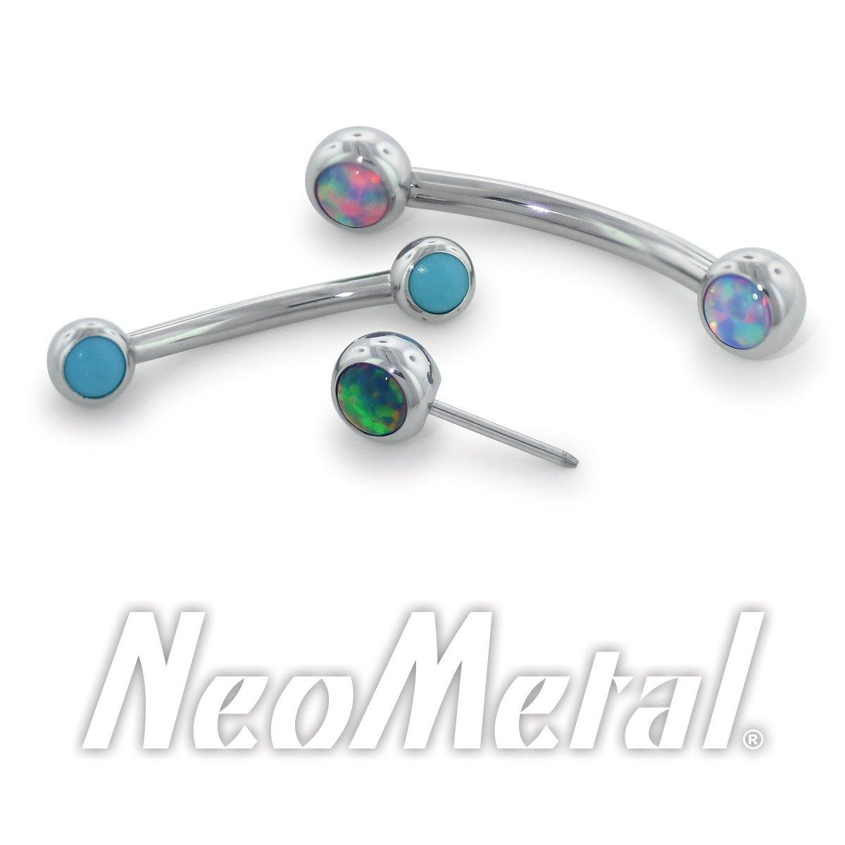 Neometal Side Set Capri Blue Opal Cabochon Curved Barbell Threadless / 2.5Mm 6.4Mm 1/4