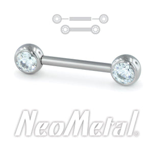 Neometal Nipple Bar With Peacock Opal Gems Threadless