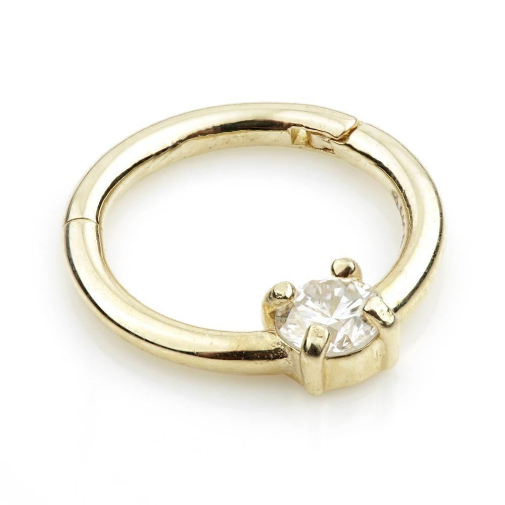 14ct Gold 3mm Diamond Hinge Ring - Isha Body Jewellery