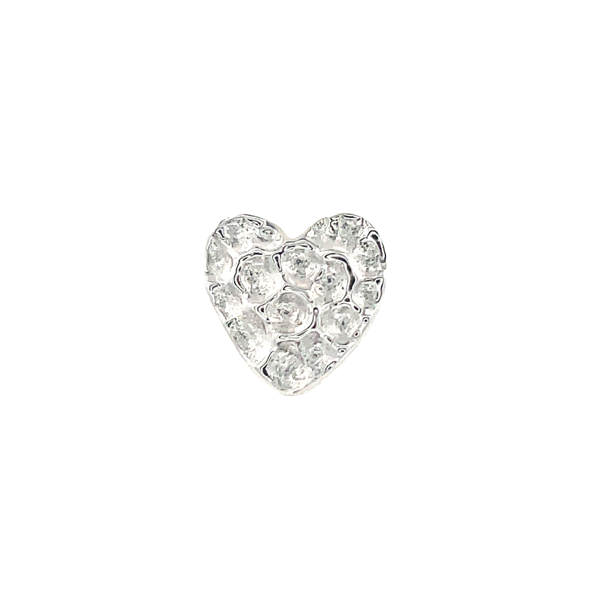 Junipurr 14ct White Gold Hammered Heart End