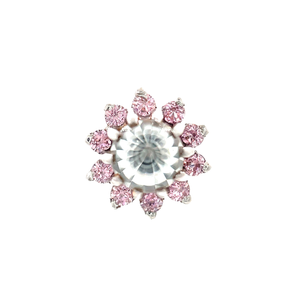 Auris 14ct White Gold Astra Small Pink & White CZ End