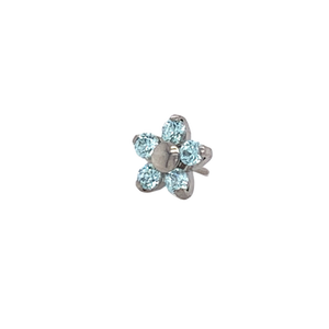 Neometal Frosty Mint Cz Flower End Threadless Attachment