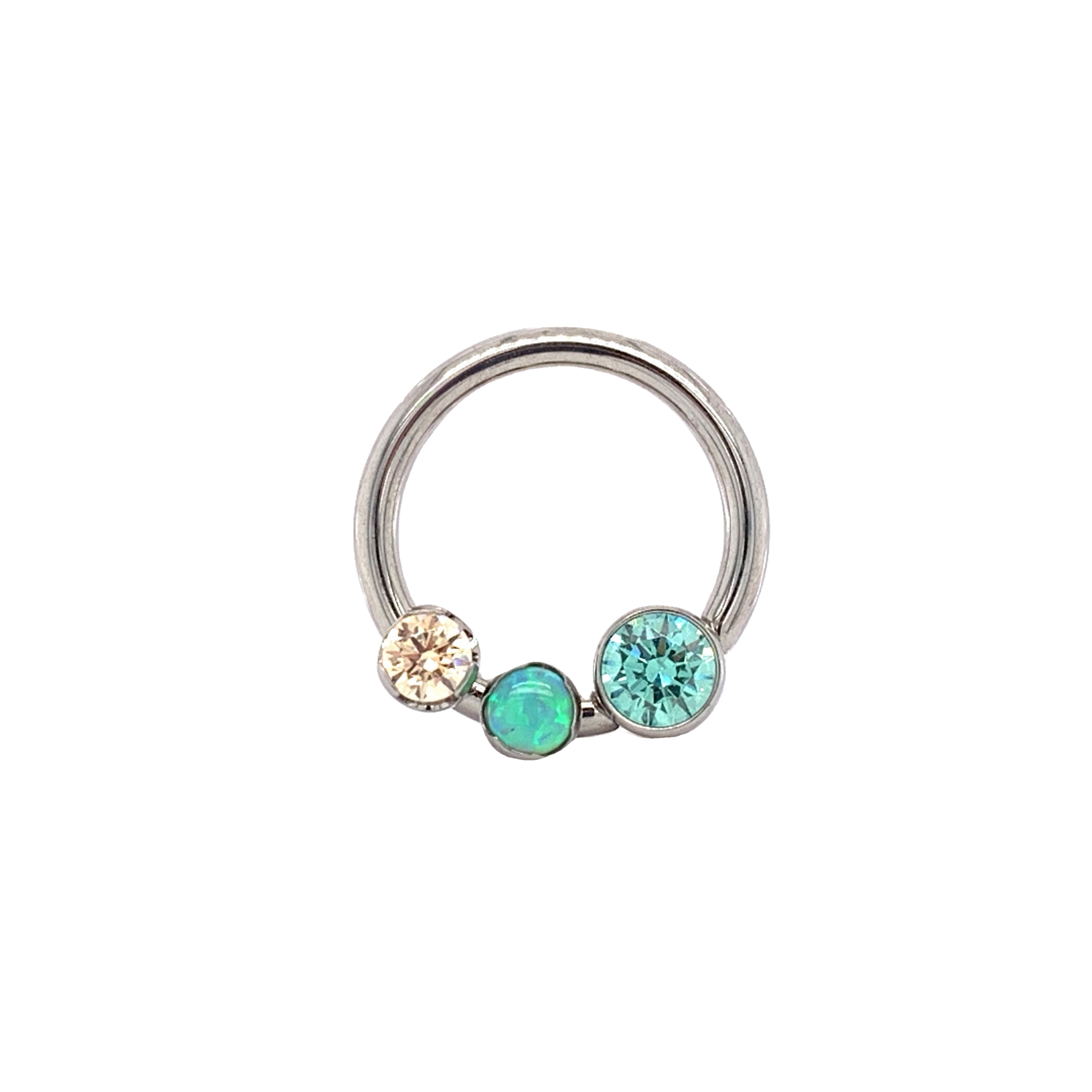Front Set Cbr With Pistachio & Champagne Cz Lime Green Opal Daith Ring