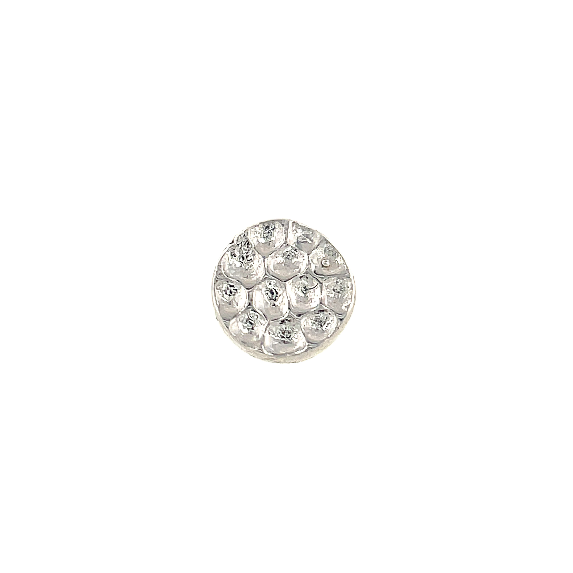 Junipurr 14ct White Gold Hammered Disc End
