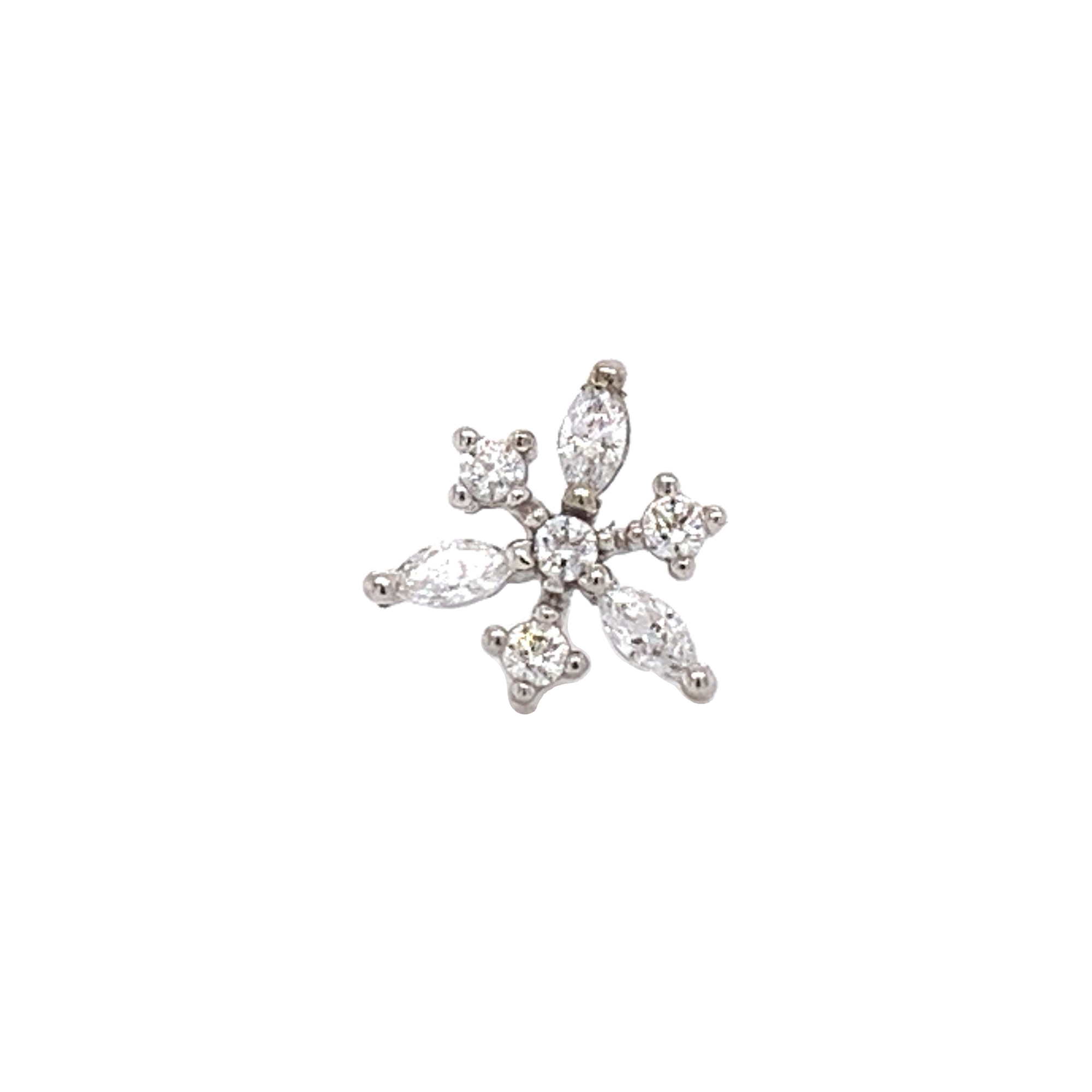 14Ct White Gold Anna Snowflake With Swarovski End Attachment