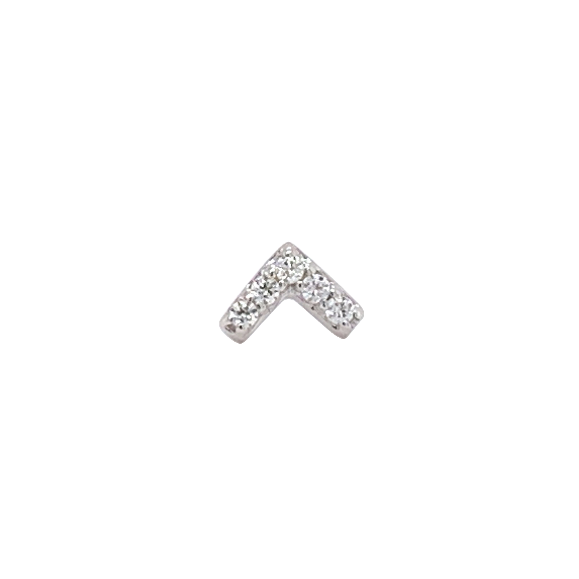 14Ct White Gold Chevron Swarovski End Attachment
