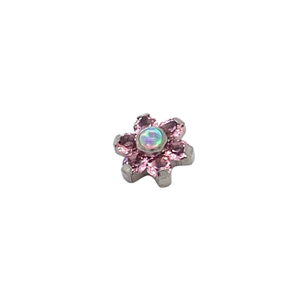 Titanium Pink Opal & CZ Gem Flower Attachment - Isha Body Jewellery