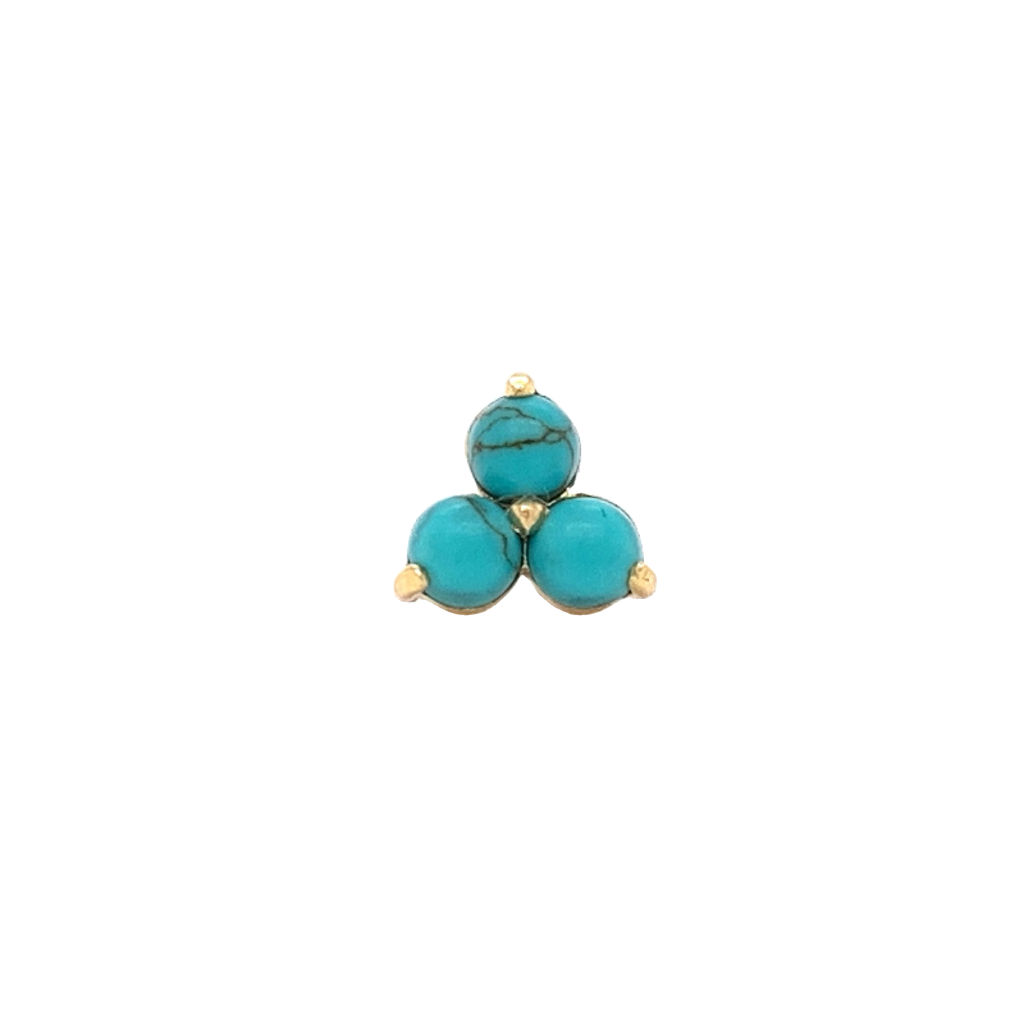 18Ct Yellow Gold Genuine Turquoise Trio End Attachment