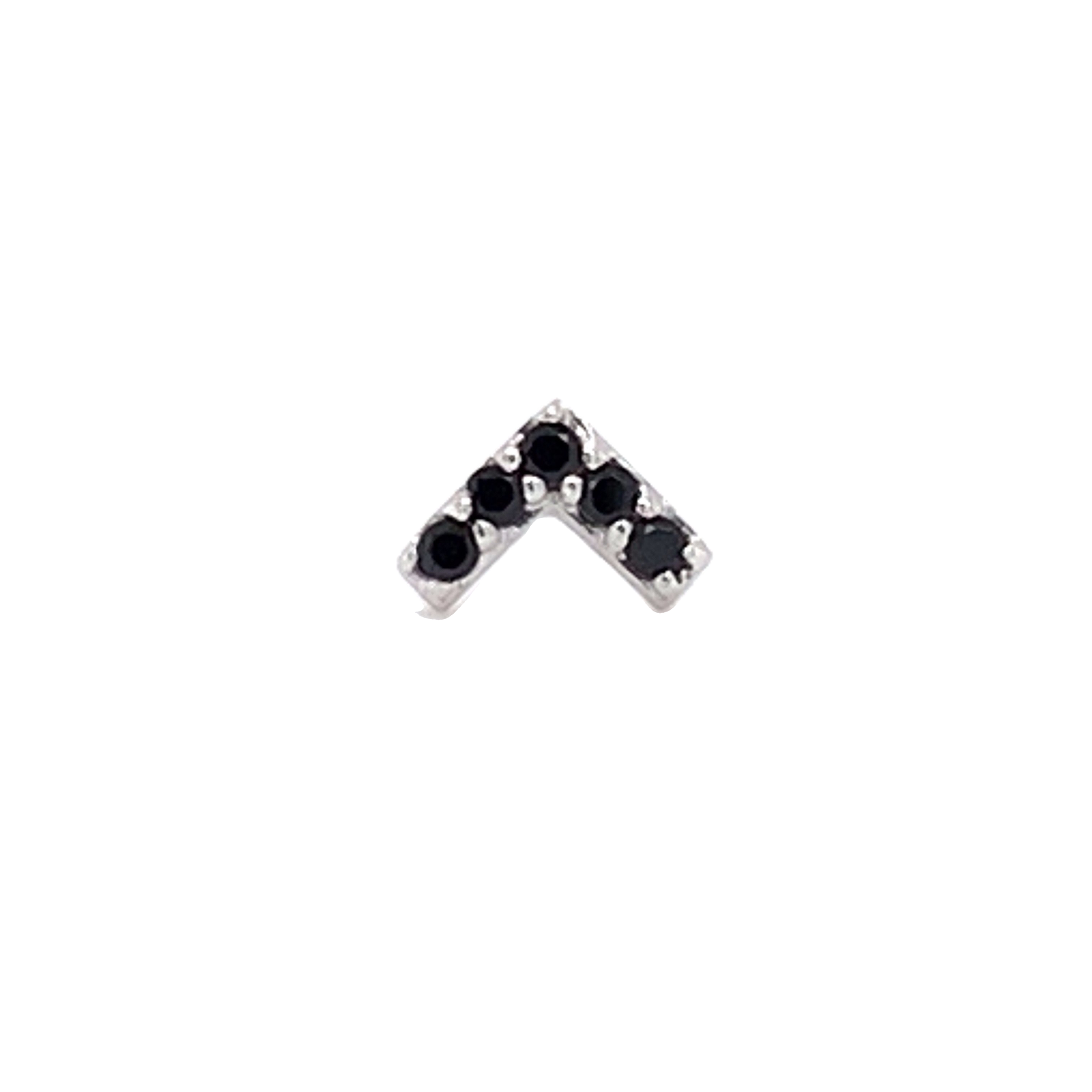 14Ct White Gold Chevron Black Cz End Attachment