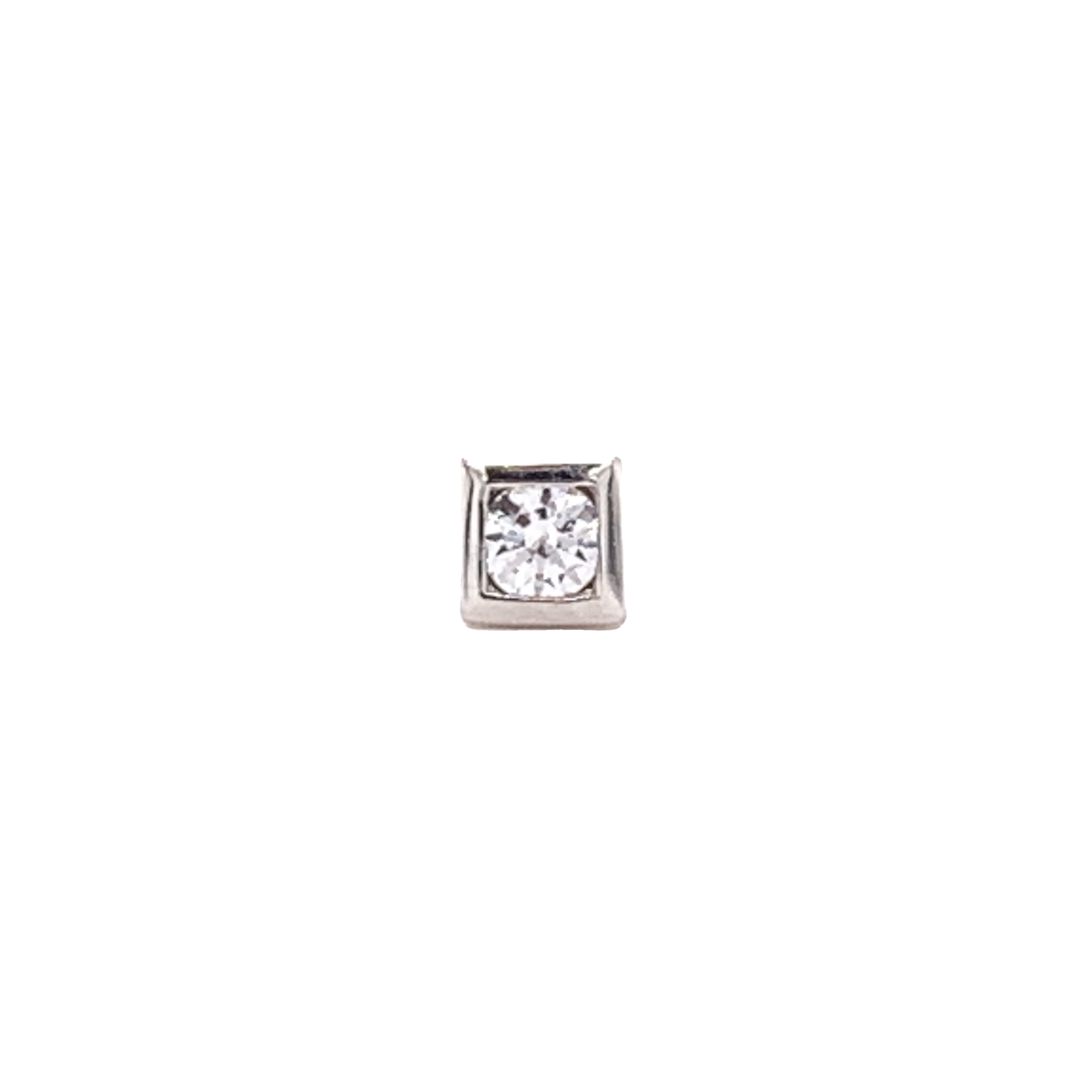 14Ct White Gold Bezel-Set Cz Square Attachment