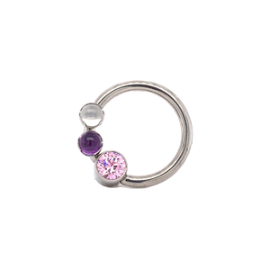 Front Set Cbr With Genuine Moonstone Amethyst & Primrose Cz Daith Ring